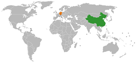 Map indicating locations of China and Germany