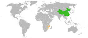Map indicating locations of China and Mozambique