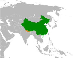 Map indicating locations of China and Nepal