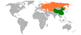 Map indicating locations of China and Soviet Union