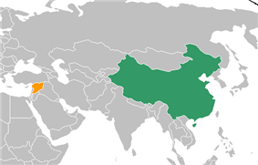 Map indicating locations of China and Syria