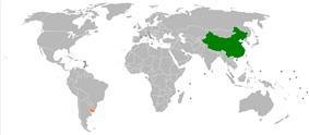 Map indicating locations of China and Uruguay