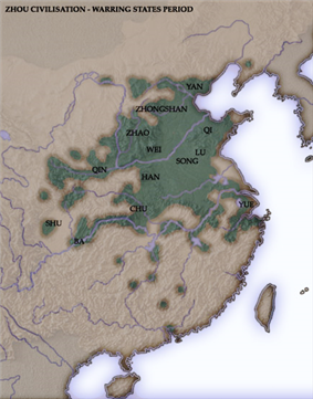 A terrain map of China highlighting regions mostly in the north China plain near rivers. The map labels