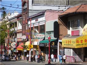 Street in Vancouver's Chinatown with shops