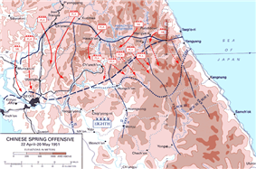 Diagram of the Chinese Spring Offensive, details the United Nations and Communist positions as described in the text