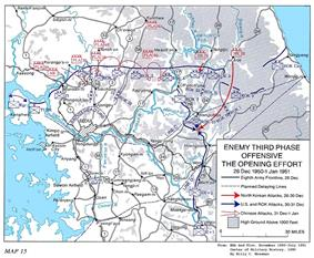 A map with multiple red arrows pressing against a blue line at the 38th parallel