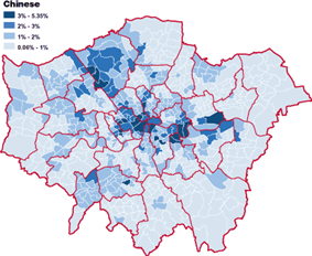 Chinese population spread (%) in London