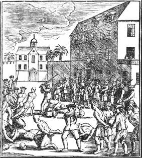 A black and white drawing of the execution of Chinese prisoners during the Batavia massacre. Decapitated heads can be seen on the ground, with one Dutch soldier in the midst of decapitating another prisoner. Armed guards stand watch over the group, including the prisoners queued for execution.