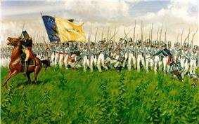 Painting of American General Winfield Scott leading his infantry brigade forward during the Battle of Chippawa