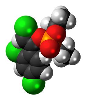 Space-filling model of the (Z)-chlorfenvinphos molecule