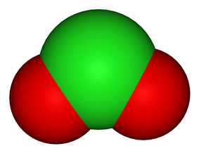 Spacefill model of chlorine dioxide