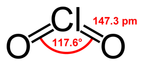 Structural formula of chlorine dioxide with assorted dimensions