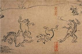 Four frogs and a rabbit in human shape frolicking.