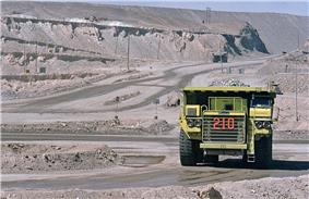 Truck on road of open-pit mine