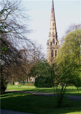 The tall spire of a church seen through parkland