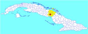 Ciego de Ávila municipality (red) within  Ciego de Ávila Province (yellow) and Cuba
