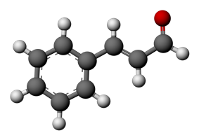Ball-and-stick model of the cinnamaldehyde molecule