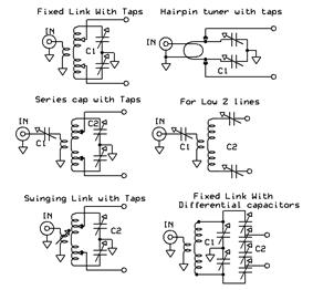 Six types of balanced tuners