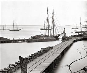 The waterfront of City Point, Virginia (present-day Hopewell) during the winter of 1864-1865.