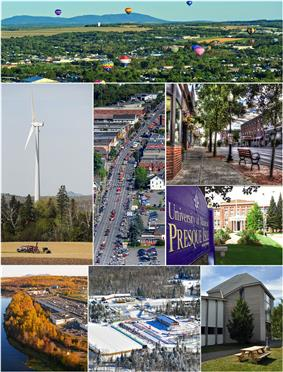 Clockwise, from top:  Crown of Maine Balloon Fest in Presque Isle, Downtown, University of Maine at Presque Isle, Aroostook Band of Micmac headquarters and museum, Nordic Heritage Center, Aroostook Centre Mall, UMPI windmill, Main Street