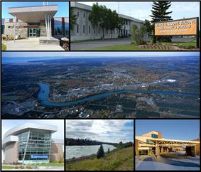 From top left: Joyce K. Carver Memorial Library, Kenai Peninsula Borough Building, aerial view of the City of Soldotna, Central Peninsula Hospital, Soldotna Creek Park, and the Kenai Peninsula College.