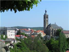 Cityscape of Kutná Hora with St James church