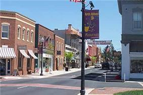 View of downtown Manassas looking east on Center Street.
