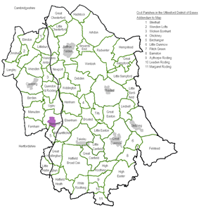Civil Parishes map showing the 60 Town and Parish Councils