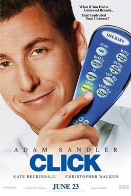 Adam Sandler holding a television remote control