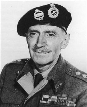 Black and white photograph of a middle aged man dressed in British Army uniform