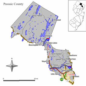 Map of Clifton in Passaic County. Inset: Location of Passaic County highlighted in the State of New Jersey.