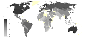An image of graphical representation of climate change awareness around the world.