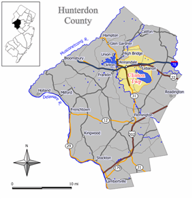 Map of Clinton Township in Hunterdon County. Inset: Location of Hunterdon County highlighted in the State of New Jersey.