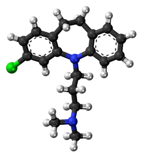 Ball-and-stick model of the clomipramine molecule