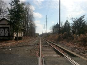 The former station depot of the Erie Railroad's Northern Branch as seen from the crossing of County Route502 (High Street) in Closter.