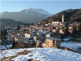 Panorama of the town in winter