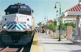 A COASTER train at Encinitas Station