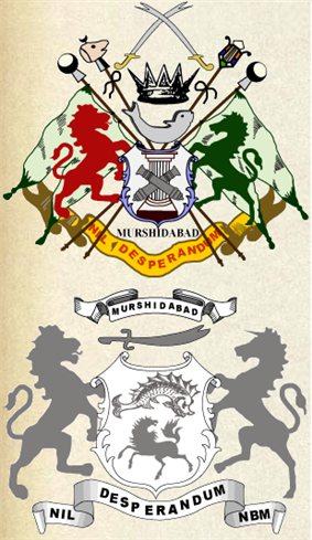 Coat of Arms of the Nawab Nizamm of Bengal, Bihar and  Orissa (top) and that of the Nawab Bahadur of Murshidabad (bottom)