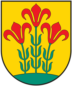 A coat of arms depicting three flowers that have red petals, green stalks, and green leaves all sprouting from green earth