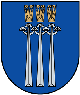 A coat of arms depicting three golden crowns with five spikes protruding from their tops all on a blue background