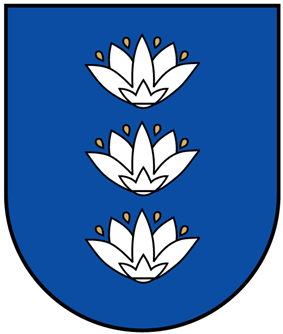 A coat of arms depicting three white flowers lined up vertically with four yellow seeds surrounding each all on a blue background