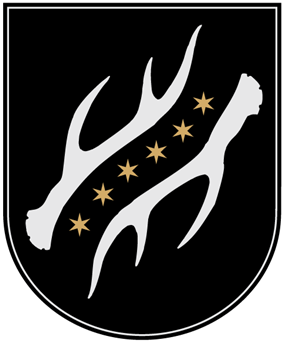 A coat of arms depicting six yellow stars in a diagonal line running from the bottom left to the top right all on a black background