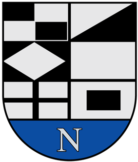 A coat of arms depicting a white