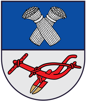 A coat of arms depicting two grey sheaves of wheat on a blue background at the top and a red plowshare on a grey background at the bottom