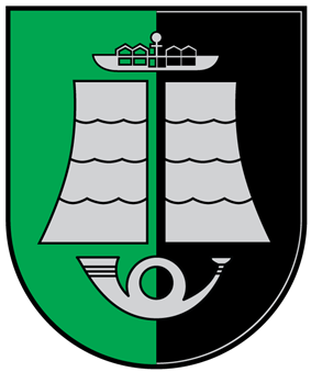 A coat of arms depicting a grey boat hovering over two partitions of grey water that are themselves hovering over a grey horn all on a green-and-black background