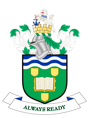 Coat of arms: knight's helmet above shield containing open book, motto