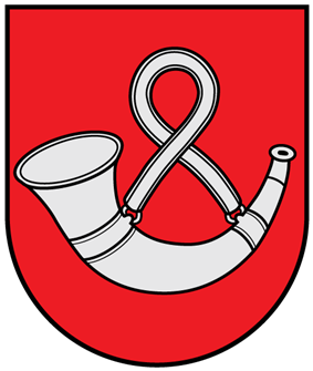 A coat of arms depicting a rounded, silver horn hung up by a rounded, silver strap all on a solid red background bordered by a black line
