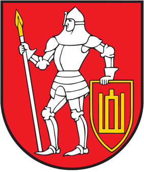 A coat of arms depicting a man in full body armour holding a white spear in his right hand and a red-and-yellow shield in his left hand