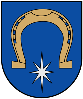A coat of arms depicting a golden horseshoe hovering over a white, 8-point star all on a blue background bordered by a thin, black line