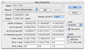 Property window outlining the mass properties of a model in Cobalt